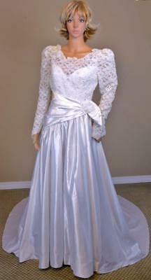 VTG 80s Bianchi Sequin Pearl Sheer Lace Asym Waist Cathedral Train Wedding Dress