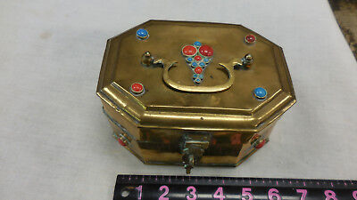Vintage Indian Jeweled Turqiose and Coral Brass Trinket Box