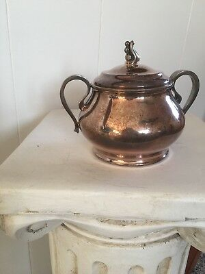 Antique/Vintage Silver Plated Sugar Bowl w/lid Shabby Chic Rustic Traditional