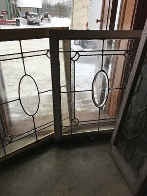 Sg 1838 2Available Price Separate Antique Stainglass Oval Beveled Window 28 X 33