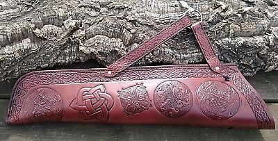 Leather Celtic Archery Side Quiver, left or right handed, Dyed antique mahogany