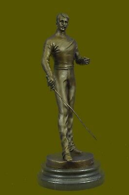 Signed Hot Cast Bookend Fencer Fencing Bronze Sculpture Figure Sword Play Statue
