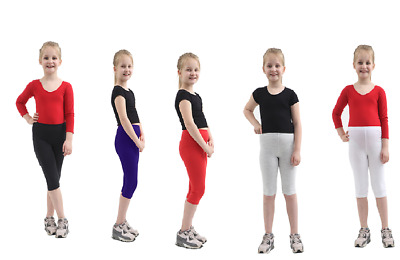 Girls Children Cropped Cotton Leggings 3/4 Length All Ages Black Red White Grey