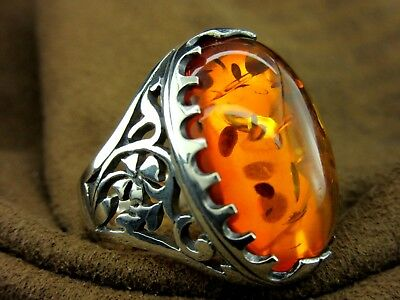 Turkish Handmade Ottoman Style 925 Sterling Silver Amber Men's Ring Size 9.5