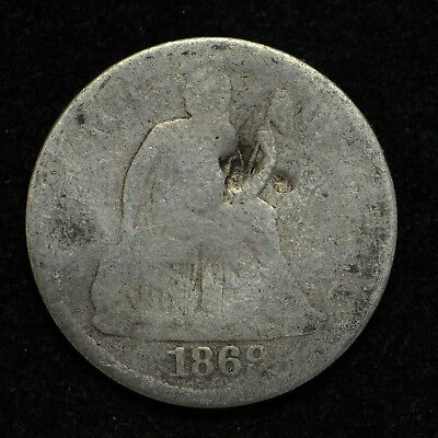 1869-S Seated Liberty Silver Dime Better Date Damaged (cn4919)