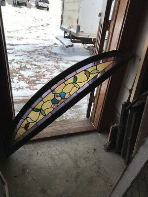 Sg 1843 Antique Elliptical Arch Top Stainglass Window 12.25 X 59