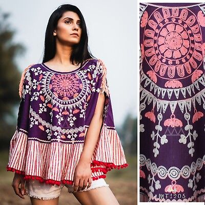 Indian Pakistani Ethnic Embroidered Khadi Poncho / Wrap in vibrant colours