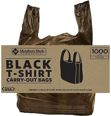 Black Commercial T Shirt Carryout Bags Retail Grocery S