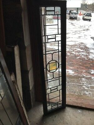 SG 1845 antique leaded stained glass transom window 13.75 x 56