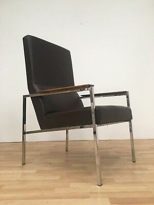 Vintage French Mid Century 60S 70S Retro Industrial Chrome Framed Easy Chair