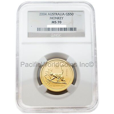 Australia 2004 Year of the Monkey $50 1/2 oz Gold NGC MS70 SKU#2930