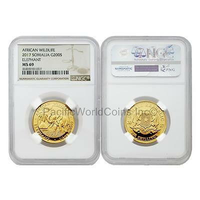 Somalia 2017 African Wildlife Elephant 200 Shillings Gold NGC MS69