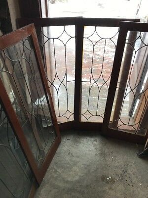 SG 1855 set of 4 matching antique leaded glass cabinet doors or transom 18 X 46.