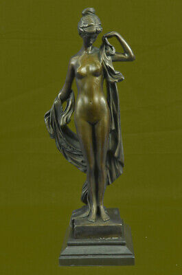 Handmade Ornate Hot Cast Bronze Floral Sculpture Nude Nymph Female Figure GIFT