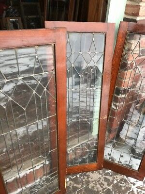 Sg 1857 Set Of Four Matching Antique Leaded Glass Cabinet Doors 17.75 X 48