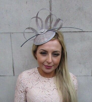 Grey Silver Sinamay Quill Feather Pillbox Hat Fascinator Races Ascot Hair 5222