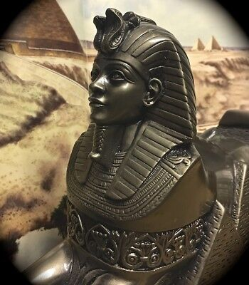 Large 11 Inch Faux Metallic Resin Statue Of Sphinx Made In Egypt By Ahmad Zinhom