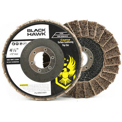 """5 Pack - 4-1/2"""" x 7/8"""" Black Hawk Surface Conditioning Flap Discs, Tan - Coarse"""