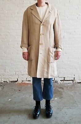 DKNY Donna Karan Unisex Beige Linen jacket trench Men Medium