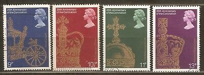 Collectible Great Britain 1978 USED Stamps:25th Anniv.Coronation Queen Elizabeth