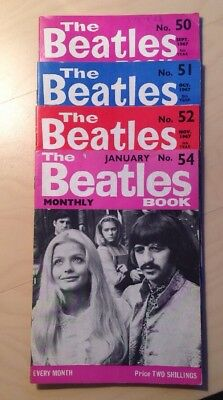 THE BEATLES ORIGINAL MONTHLY MAGAZINES No 50/51/52/54 VERY GOOD CONDITION