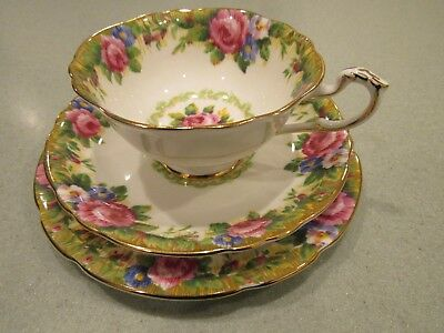 Paragon Bone China Tea Cup and Saucer + Bread / Side Plate Trio Tapestry Rose