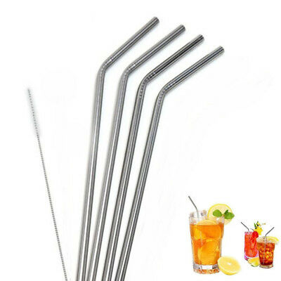 Stainless Steel Straws Extra Long Bent 6pcs With Brush Heavy Duty Fits Tumblers