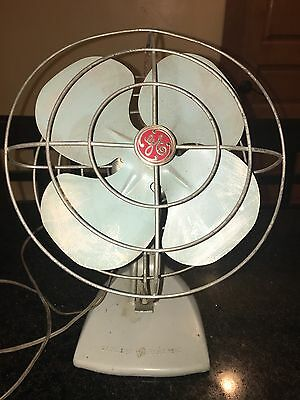 General Electric Fan 10 In Blue Table Top Vintage Retro GE