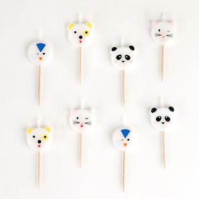8 Mini Animals Childrens Birthday Party Cake Topper Decoration Candles