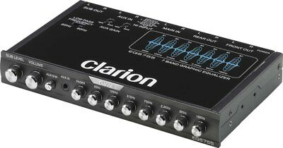 Clarion EQS755 Graphic Equalizer, 7-Band w/ Front & Rear Aux Input & Sub control