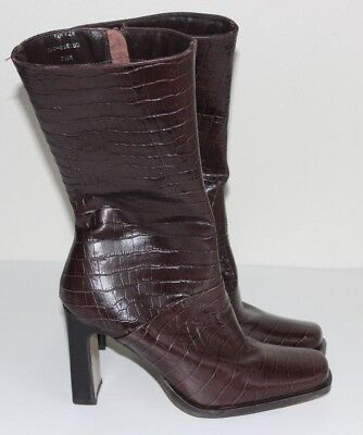White MT Turner Chocolate Brown Leather Heeled Calf Boots Size 7.5 Snake Skin
