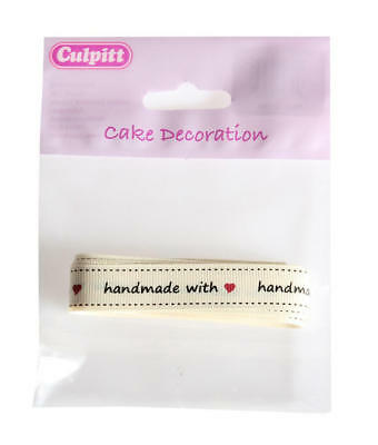Culpitt Handmade With Love Ivory Ribbon Cake Baking Gift Decoration - 2M