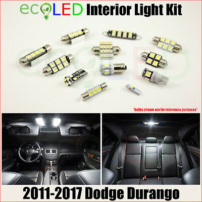 Fits 2011-2017 Dodge Durango WHITE LED Interior Light Accessories Kit 8 Bulbs