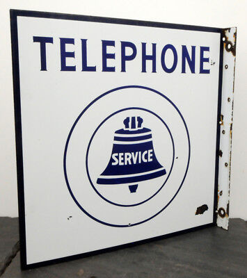 """RARE Canadian Public Telephone HTF Heavy Porcelain Flange Sign 18"""" x 18"""" Bell"""