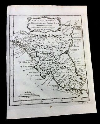 Authentic Map Of Nicaragua And Costa Rica 1754