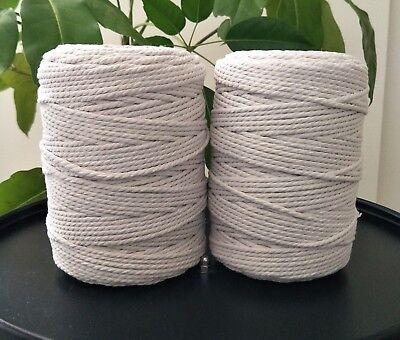 macrame rope 4mm 2kg 500 m  string cord cotton diy macrame white natural crochet