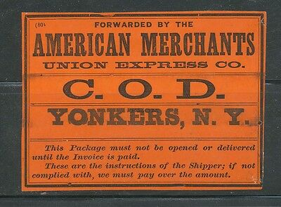 American Merchants, Union Express Co COD Yonkers NY Express Package Stamp