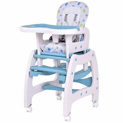 3 in 1 Infant High Chair Convertible Play Table Seat Booster with Feeding Tray (