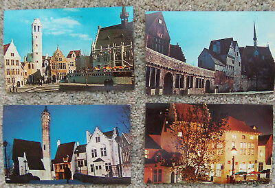 1964-1965 New York Worlds Fair  Belgian Village  Four  Postcards