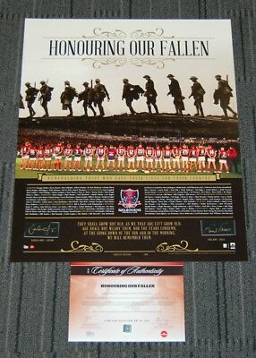 Melbourne Demons Roos Jones Hand Signed Anzac Honouring Our Fallen Afl Print