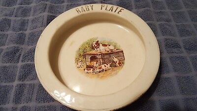 Antique Wellsville China Co. Baby Plate Pit Bull Puppies