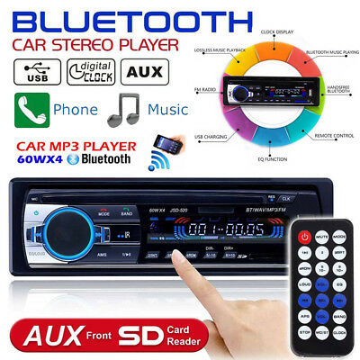 1 DIN Car Stereo 12V FM Radio SD/USB/AUX Remote Control Head Unit MP3 Player