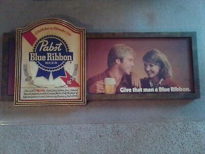 Pabst Blue Ribbon-Give That man A Blue Ribbon. Vintage Beer Sign