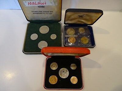 Tanzania 1966, Trinidad and Tobago 1966 and Malawi 1964 Coin proof sets Lot