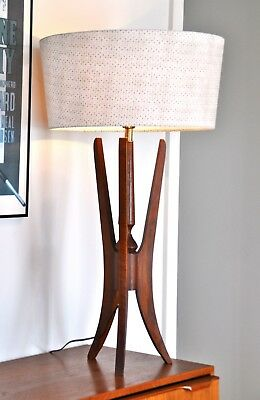 Teak era walnut Mid Century Danish Modeline 'TREBB' Lamp with new bespoke shade
