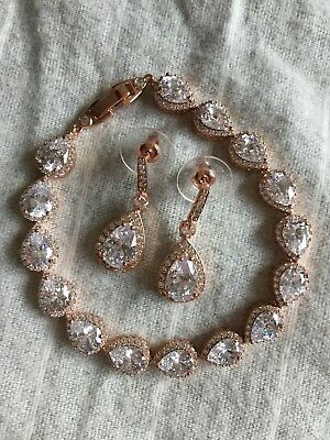 14K Rose Gold Plated Cubic Zirconia Bridal Pear Drop Earrings and Bracelet