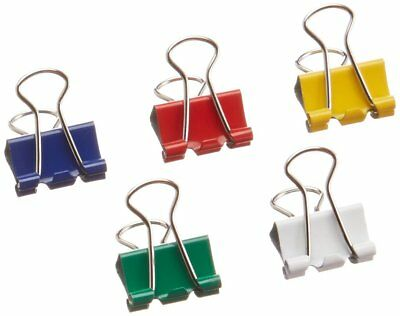 NEW Business Source Mini Binder Clips Pack of 100 Assorted Colors rust resistant