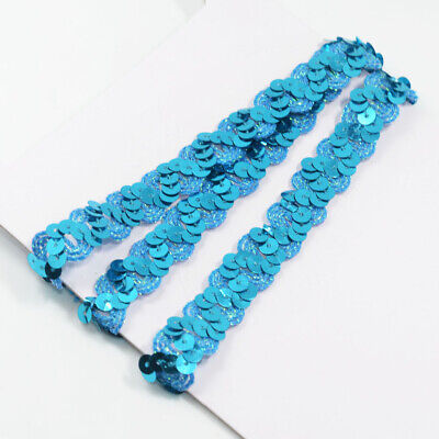 Sequins Fabric Paillette Braided Applique Decorated Lace Ribbon DIY Crafts