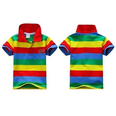 1-7Y Kids Baby Boys Cotton Short Sleeve T-shirt Striped Tee Tops Blouse Clothes