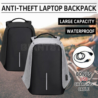 Anti-Theft Laptop Backpack USB Cable Bag For Travel School Fashion Waterproof OZ
